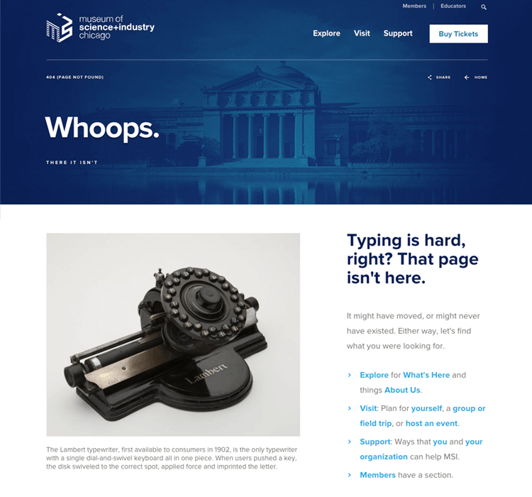 museum of science and industry as example of great 404 page