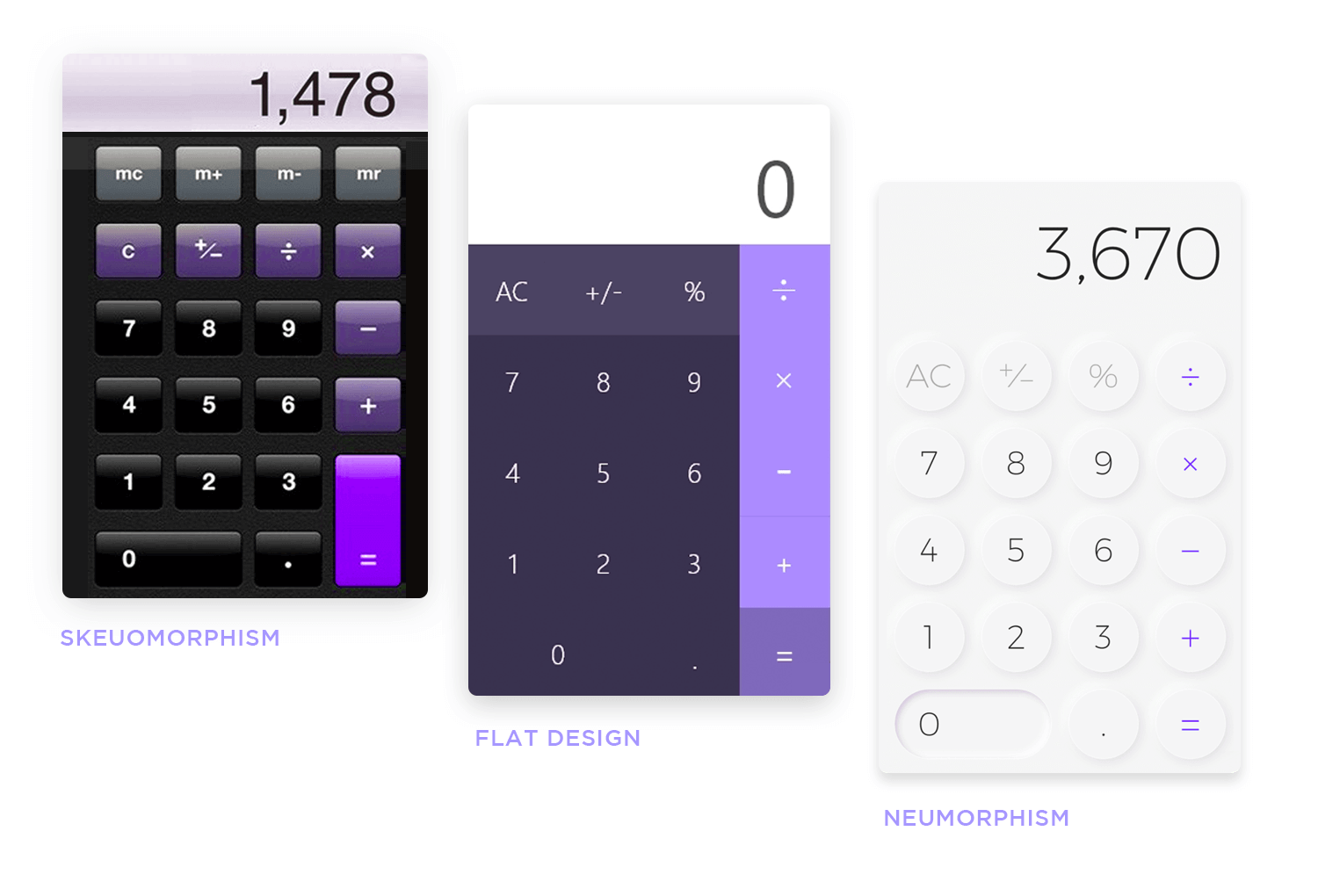 comparison between neumorphism and skeuomophism and flat design