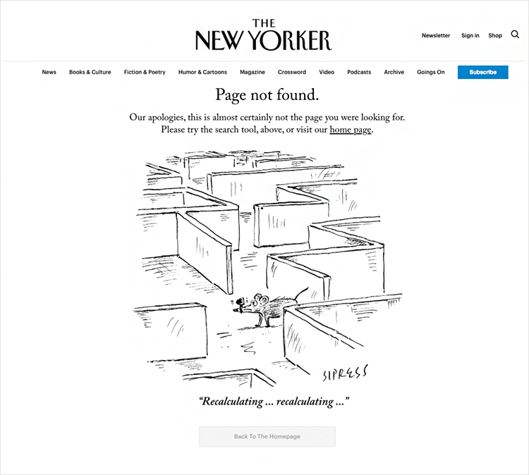 new yorker as good example of 404 page design
