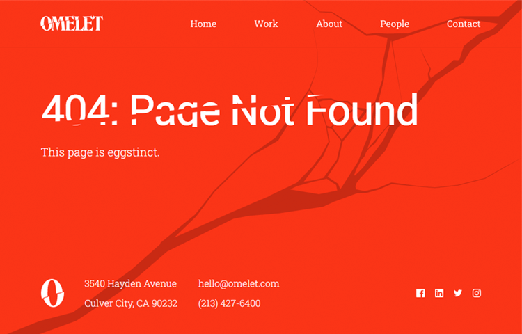 creative agency omelet as example of 404 page design