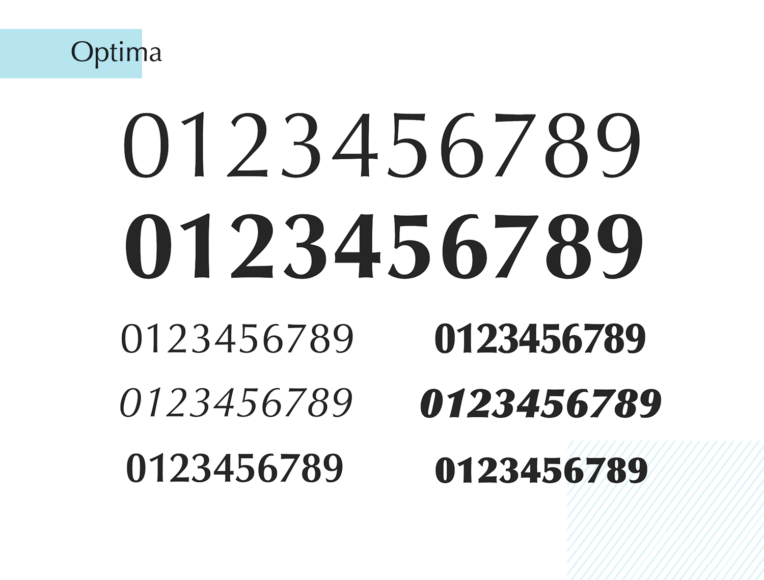 optima as great paid number font