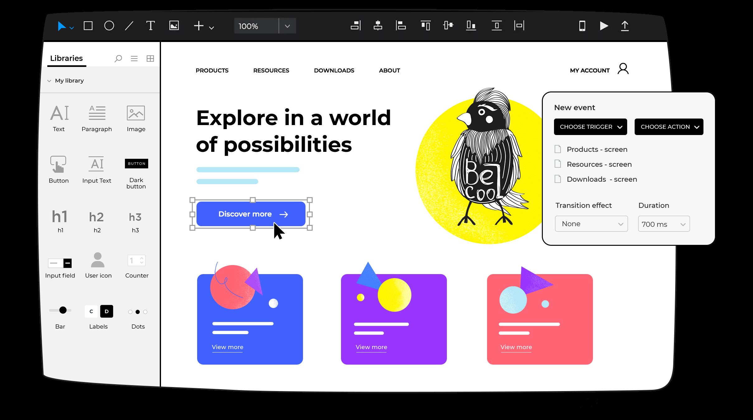 Prototyping tool - Justinmind
