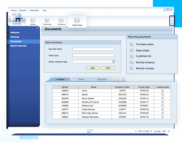 sap erp documents page ui example