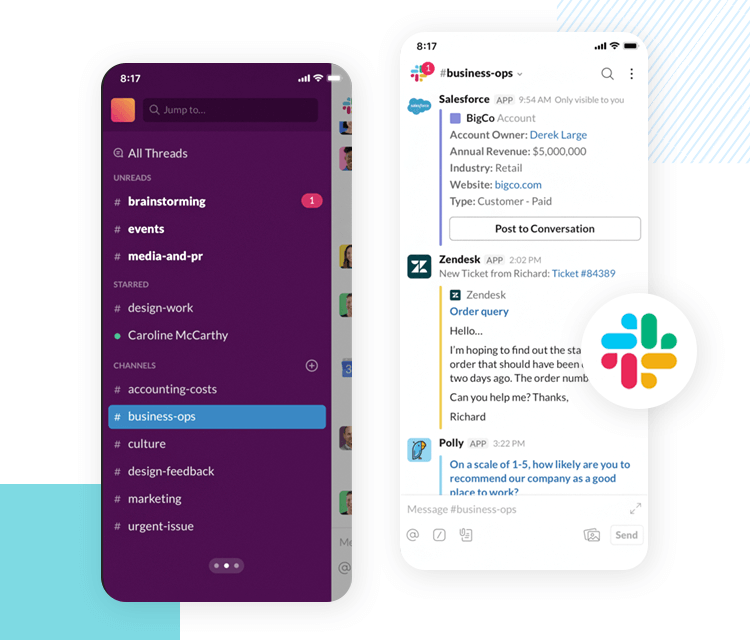 slack interface - one of the best app designs due to onboarding