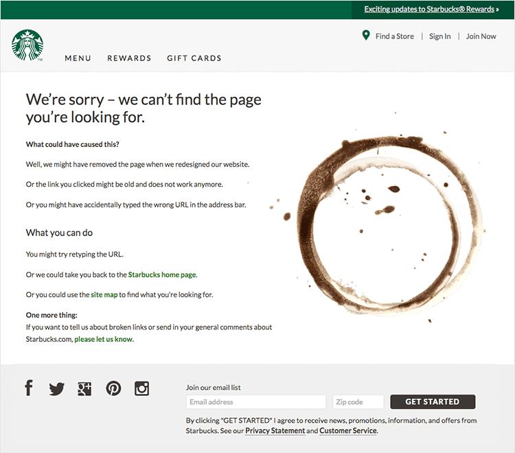 starbucks as 404 design example