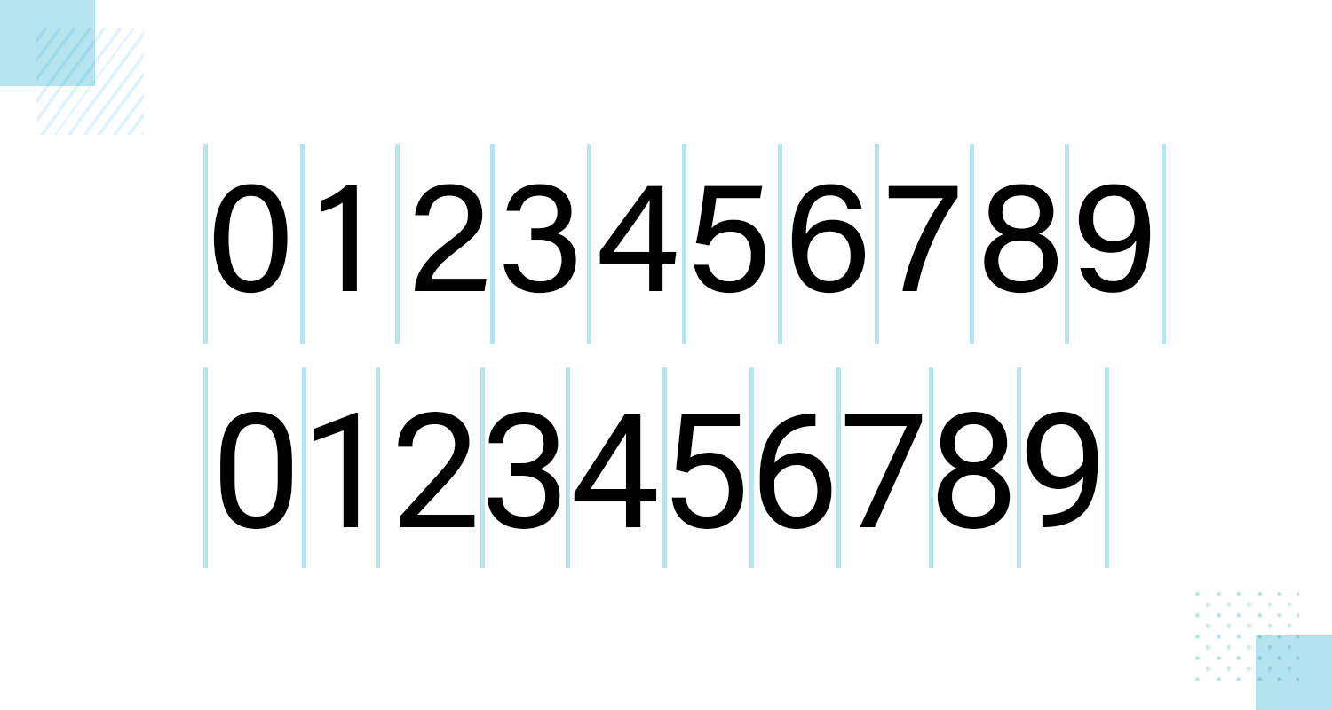 tabular figures in number fonts