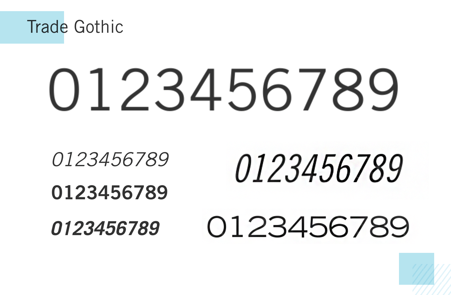 Best number fonts - Trade Gothic