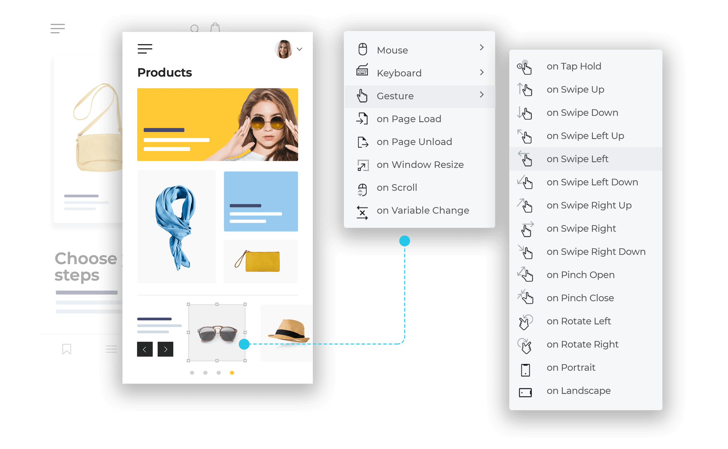 Web interactions and mobile gestures for UI prototypes
