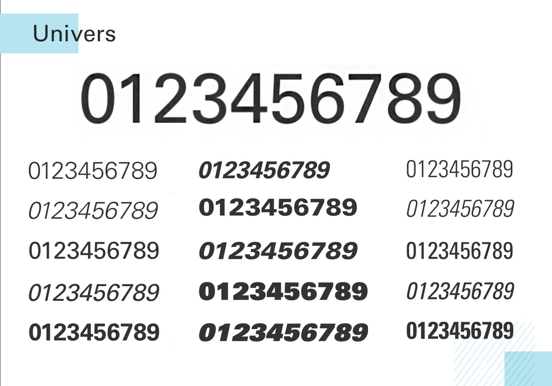 Best number fonts - Univers