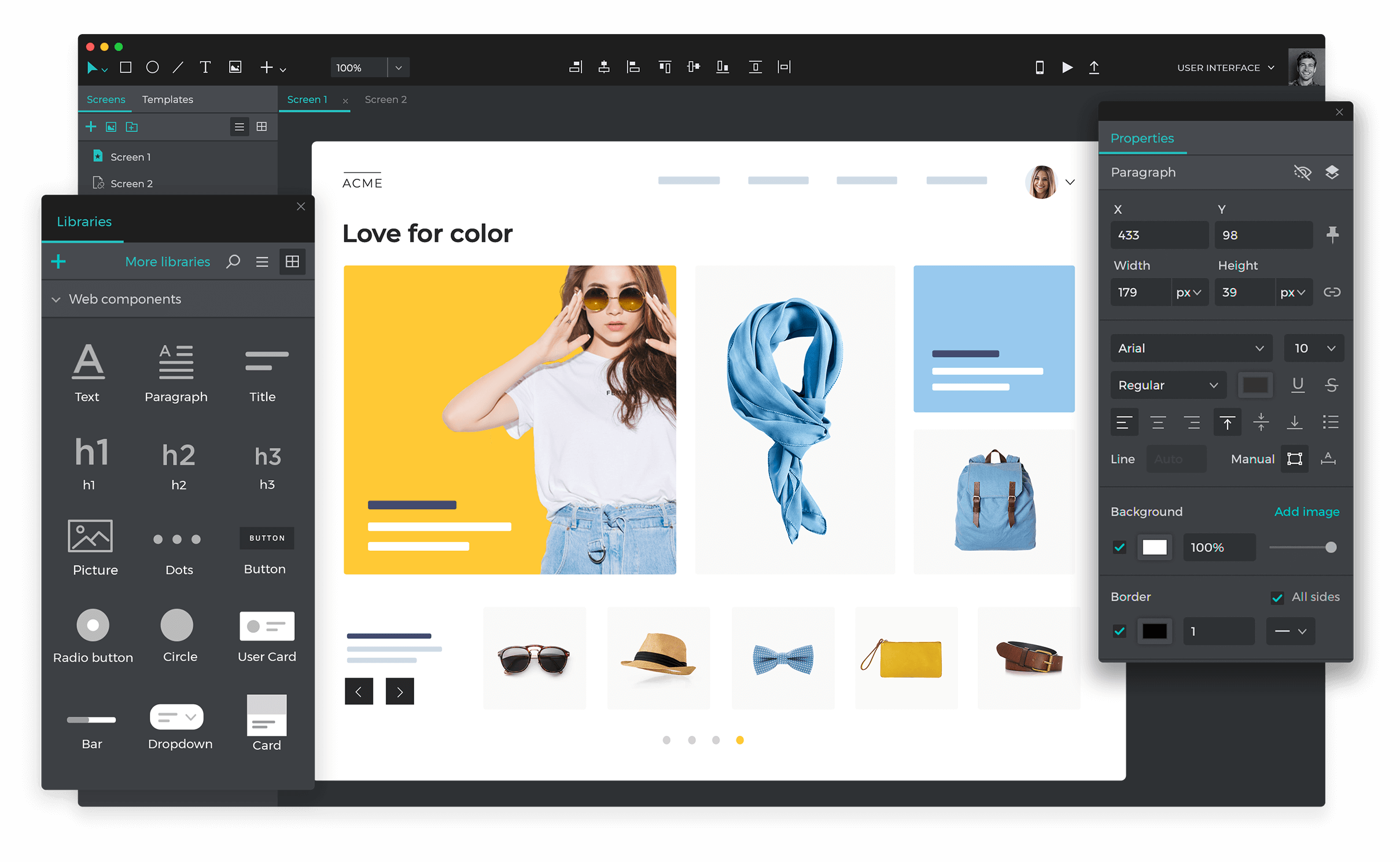 Website prototype tool
