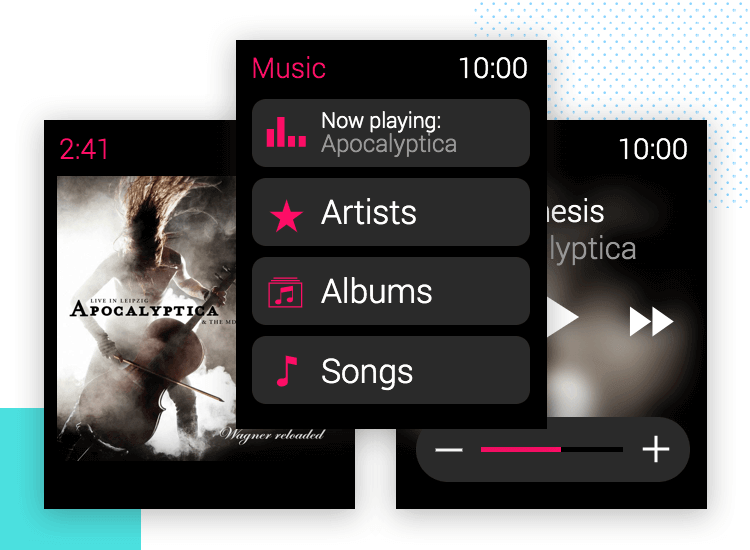 music app for apple watch with ui kit
