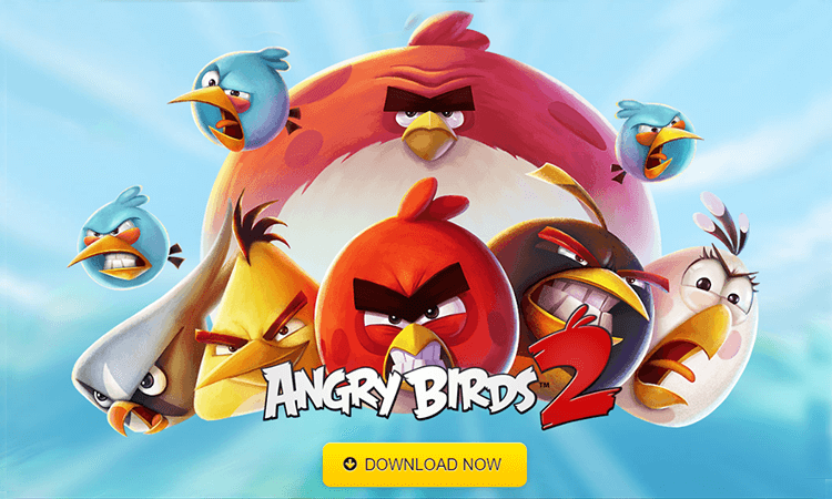 Mobile game UI design - Angry Birds 2, download poster