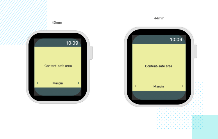 designing for rounded corners of the apple watch
