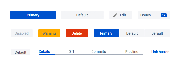 Atlaskit UI kit - different types of buttons