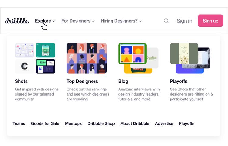 dribbble dropdown menu example
