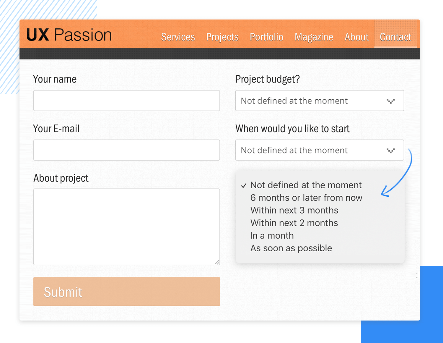 Drop down list design - UX Passion