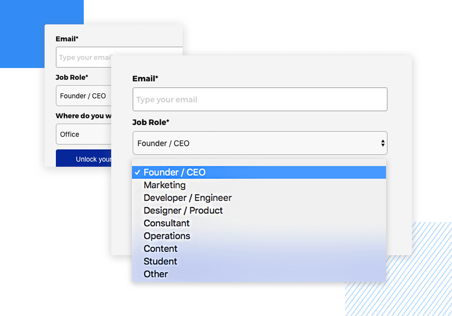 Drop down list design - Venture Harbour