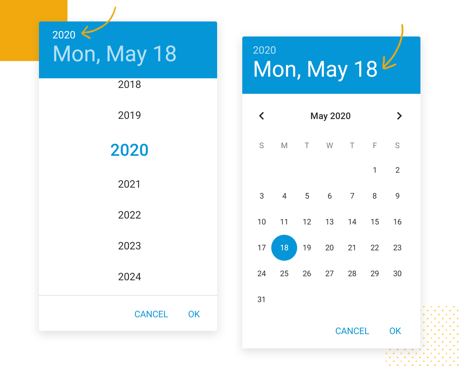 Drop down list design - date and time pickers