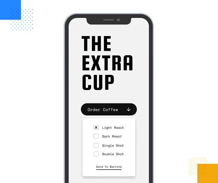 the extra cup - example of mobile app dropdown