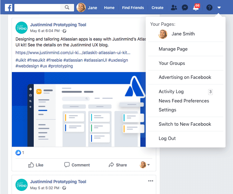 facebook example of dropdown experience