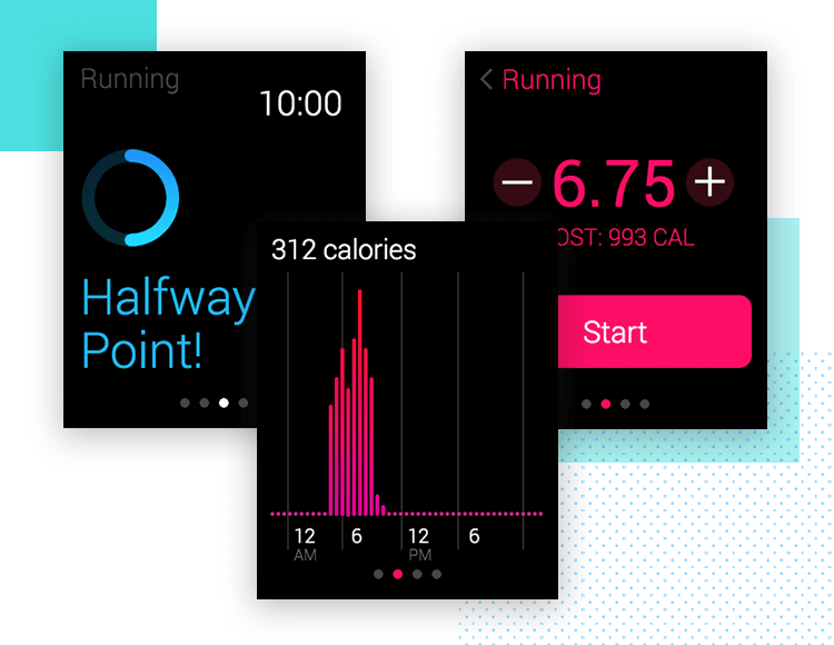 screens from fitness app for apple watch with ui kit