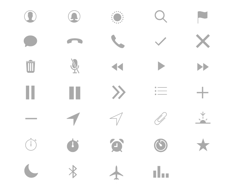 icons in the apple watch ui kit by justinmind
