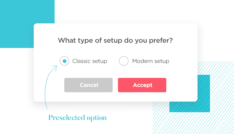 using preselected options for complex settings