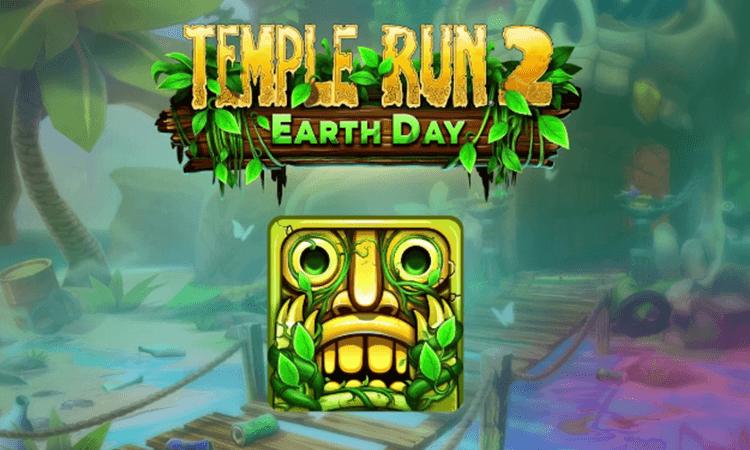 Mobile game UI design - Temple Run, Earth Day splash page