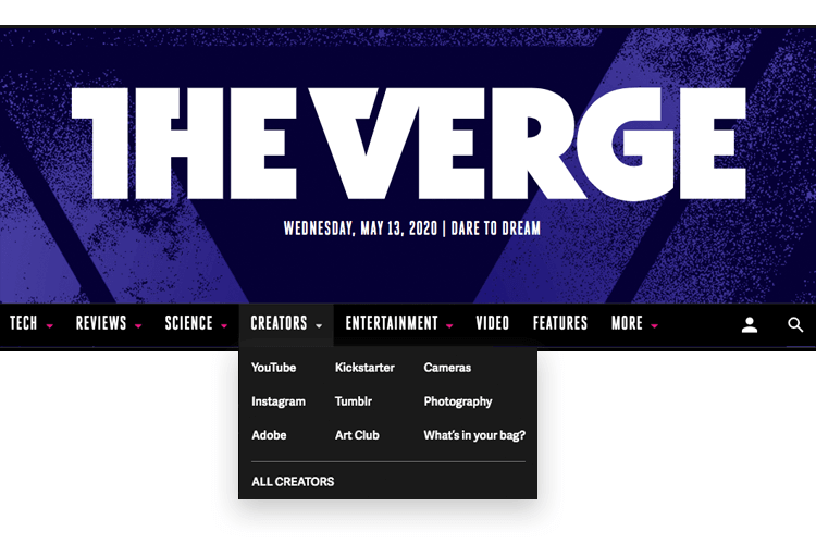 menu dropdown example from the verge magazine
