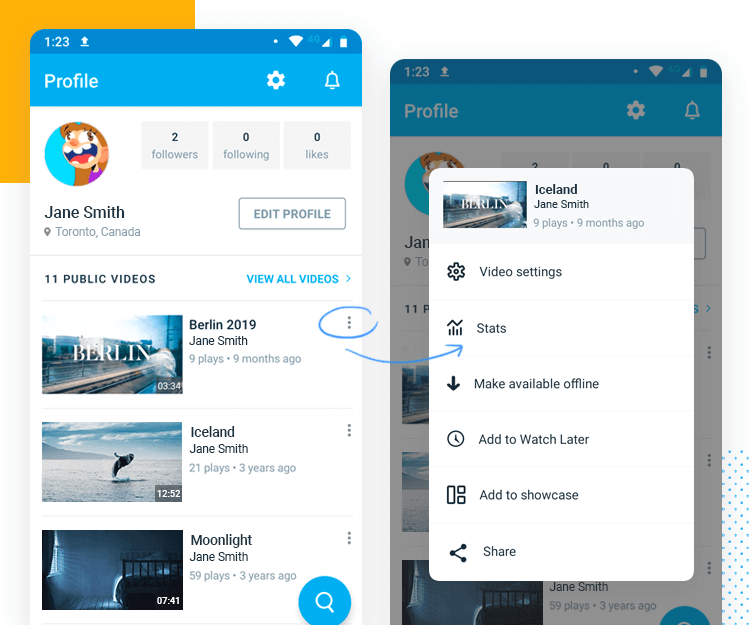 vimeo app dropdown example of modal