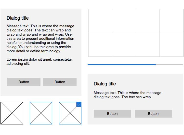 Windows 10 UI kit - dialog grid panels