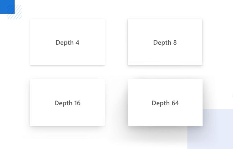 Windows 10 UI kit - fluent design depth rules