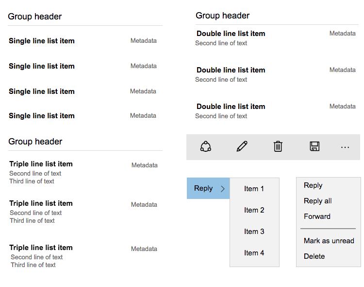 Windows 10 UI kit - menus, headers and taskbar