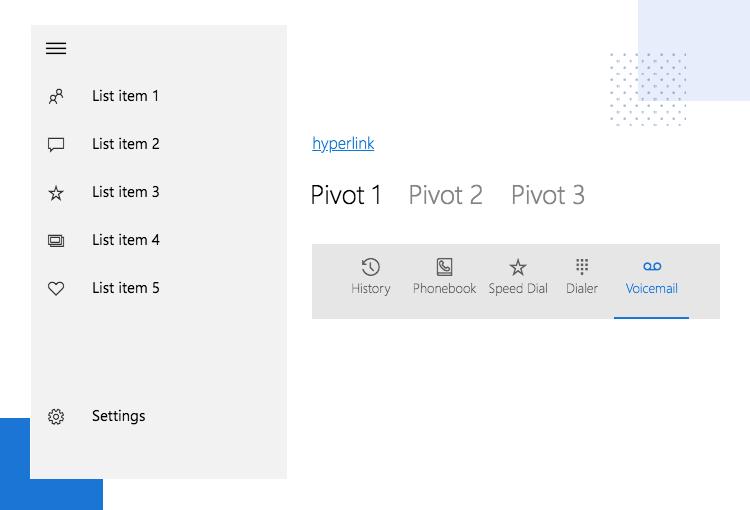 Windows 10 UI kit - navigation, pivot, hyperlink elements