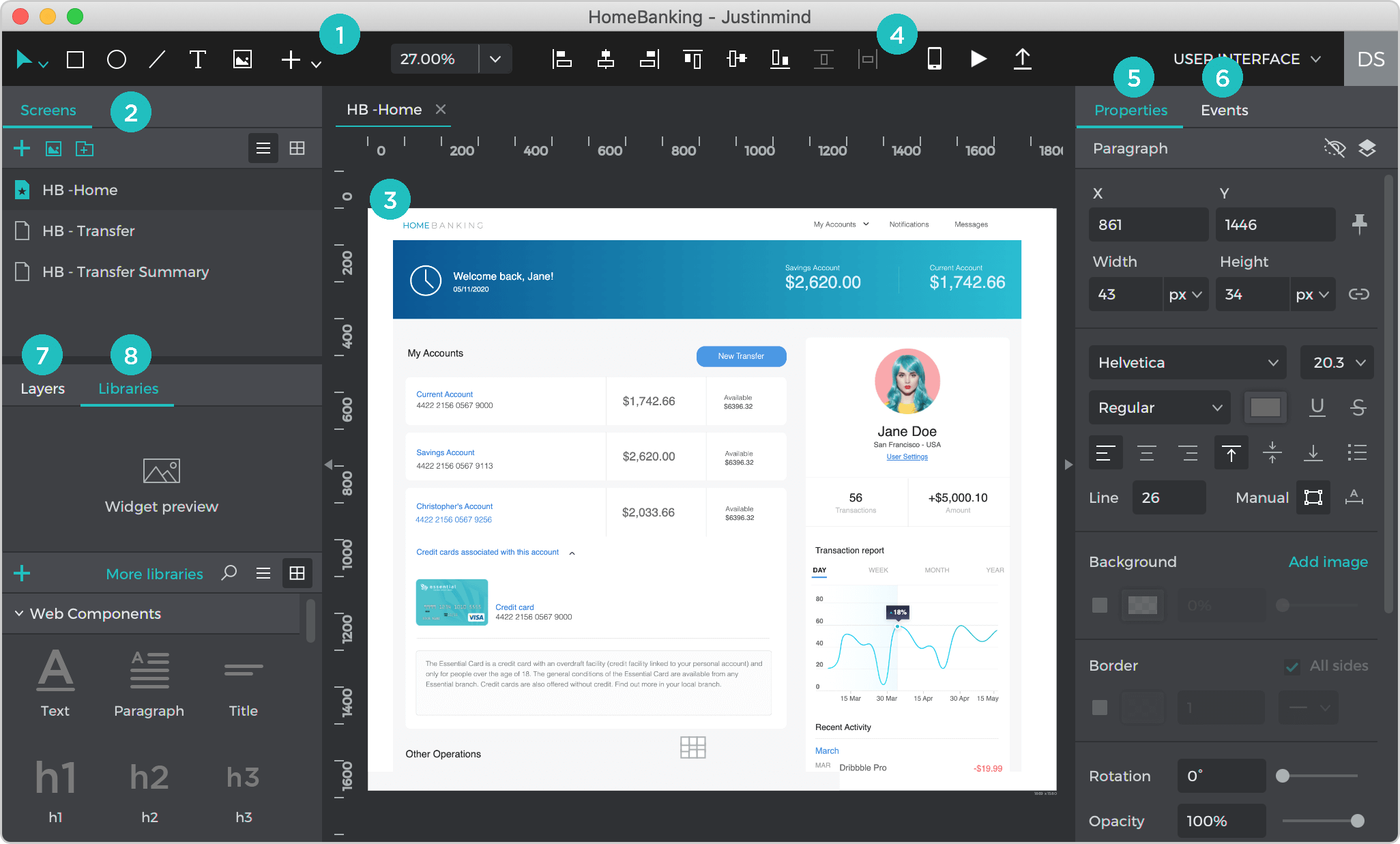 UI Overview of Justinmind