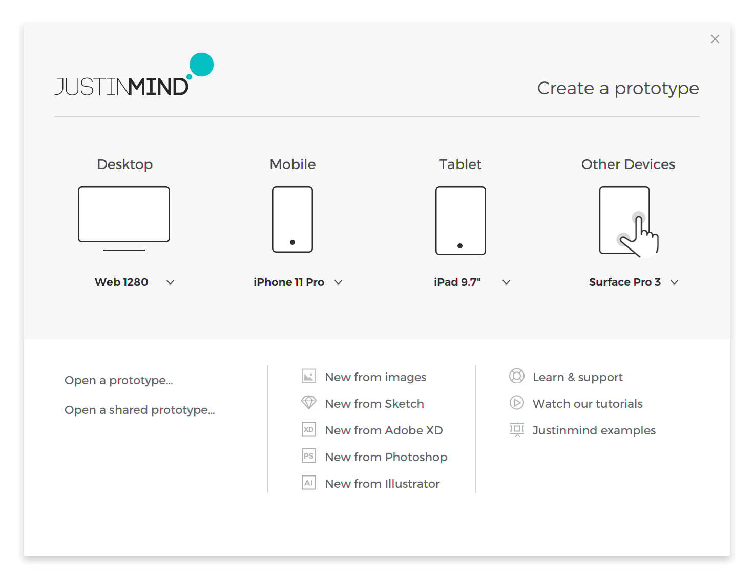 Justinmind welcome window. Choose from several devices to start prototyping