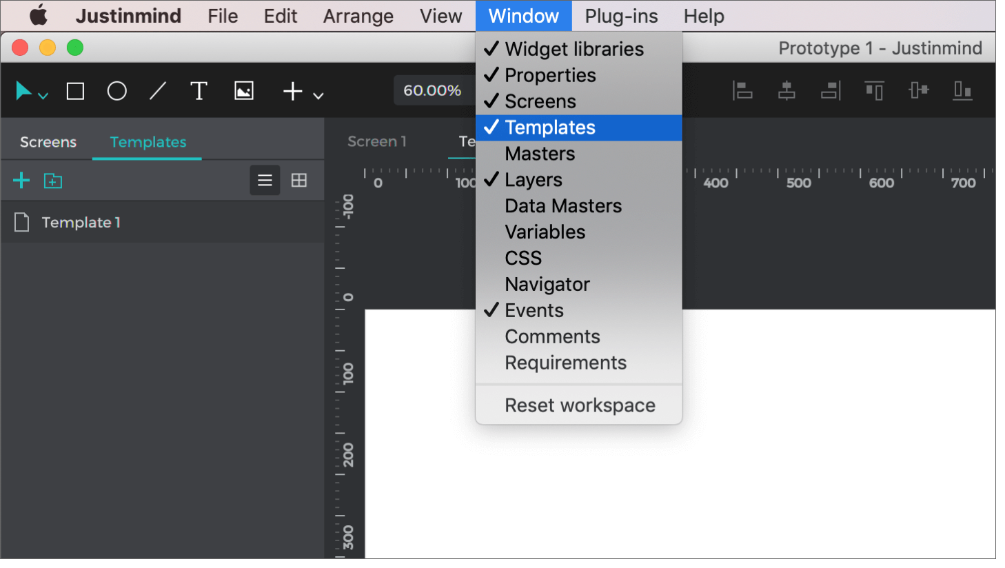 Show the Templates palette in the Window menu