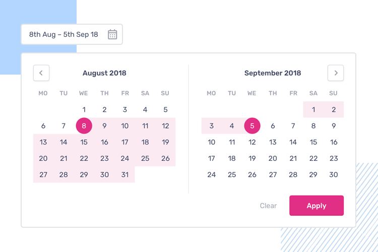 Mental models in UI-UX design - two date pickers to select a date range