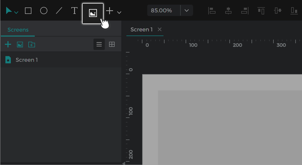 Add images to your prototype by tapping the image element in the toolbar