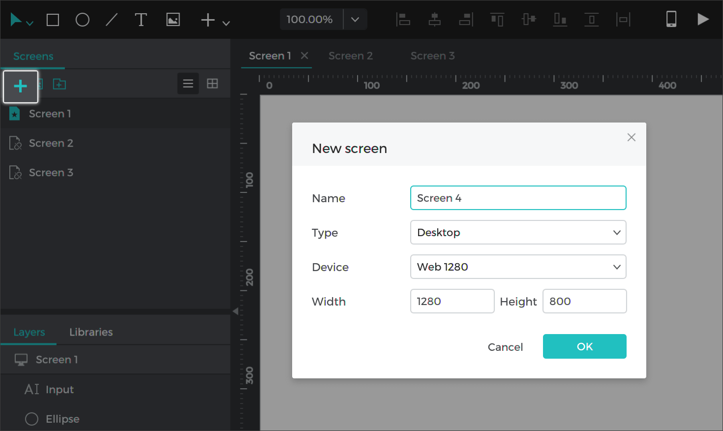 Create a new screen by clicking the + button