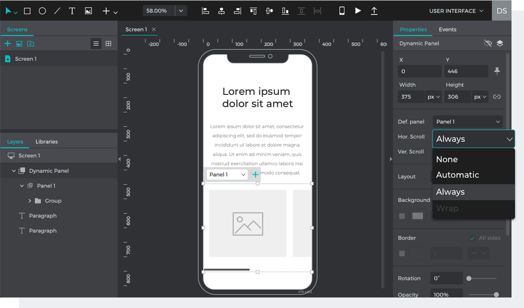 Select scroll always to create a scrolling container