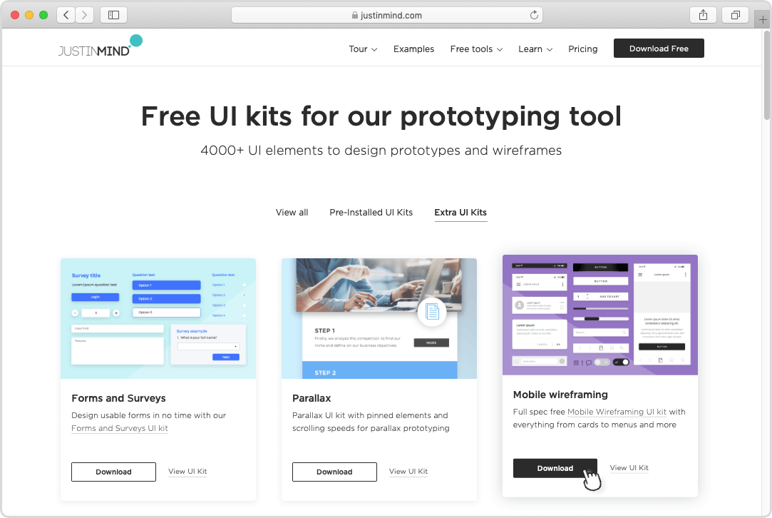 Find UI kits to download at justinmind.com/ui-kits