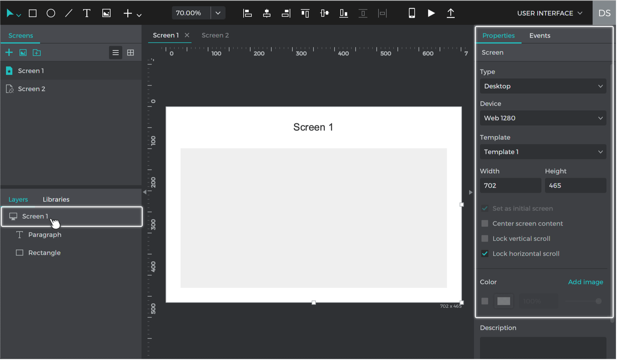 Select the screen in the Layers palette or double click on the Canvas to see options to edit the screen details