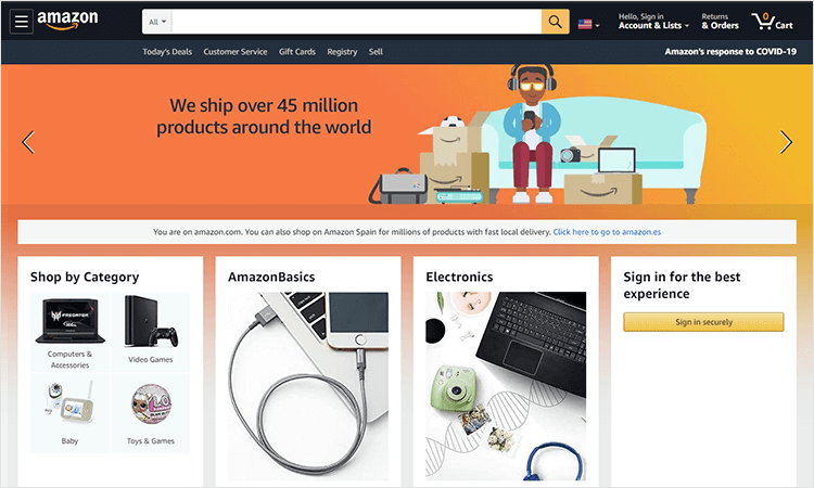 Bad UI design websites with good UX - Amazon
