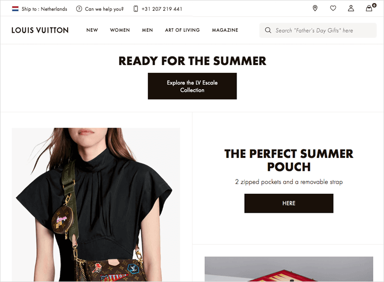 Bad UI design websites with good UX - Louis Vuitton