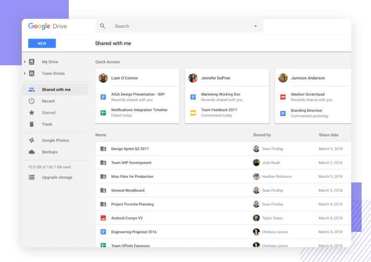 google drive as example of simplicity beating feature-packed products
