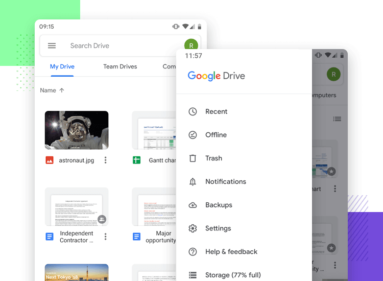 Hamburger menu design on mobile apps - Google Drive