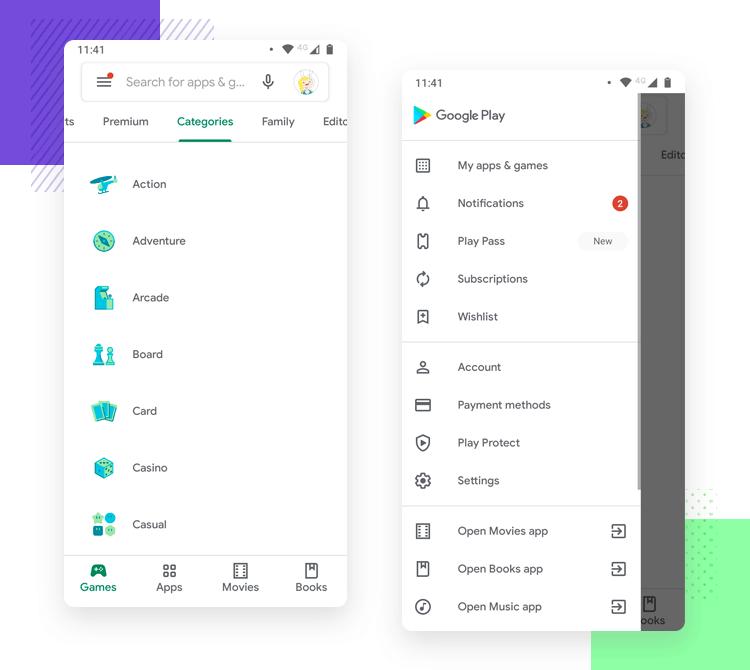 Hamburger menu design on mobile apps - Google Pay
