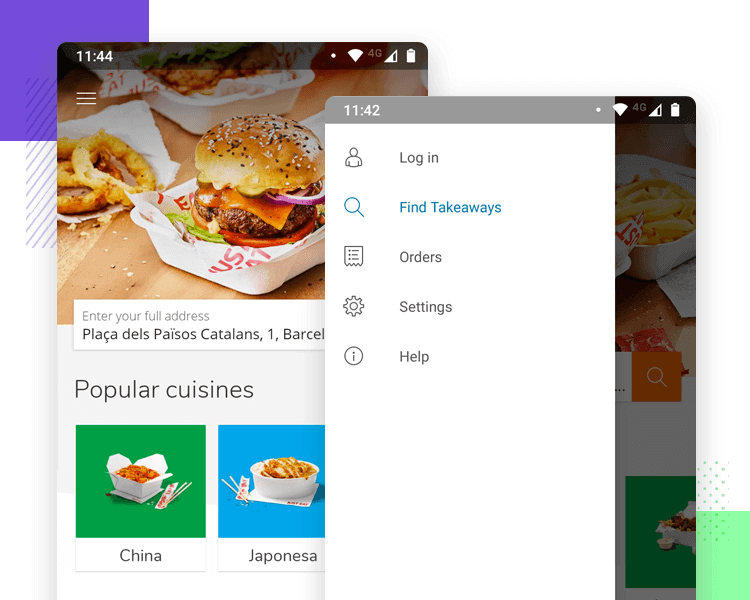 Hamburger menu design on mobile apps - Just Eat
