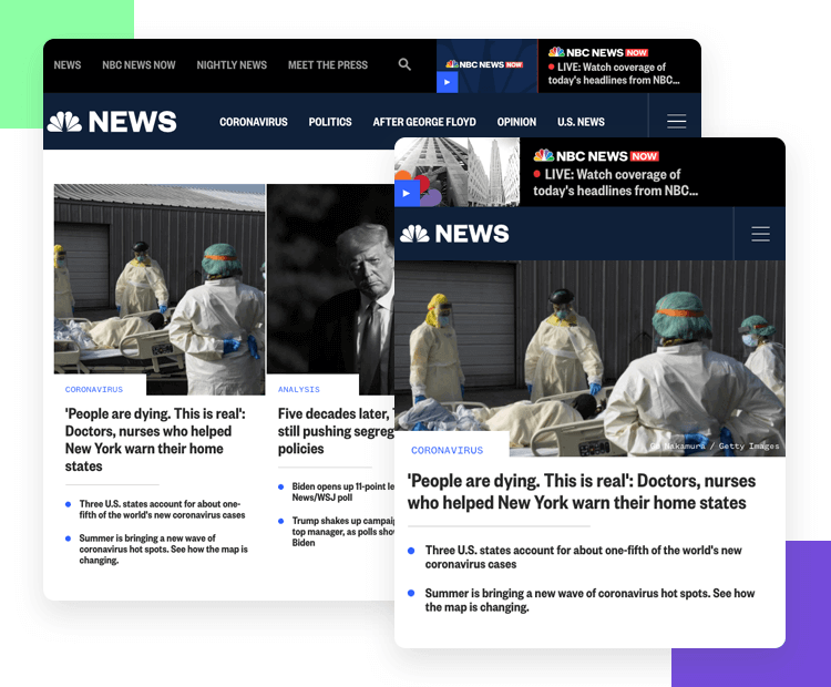 Hamburger menu design on responsive websites - NBC News